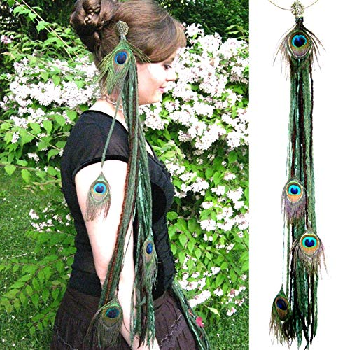 (Yarn Falls WOODLAND FAIRY Peacock Feather hair falls Save $ 9 on the pair! Larp elf costume hair jewelry Tribal Fusion hip & hair tassels Belly Dance yarn extensions Forest Witch hair accessory)