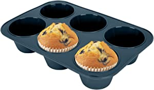 Silicone Muffin Baking Pan & Cupcake Tray 6 Cup - Nonstick Cake Molds/Tin, Large Silicon Bakeware, BPA Free, Dishwasher & Microwave Safe (6 Cup Size, Grey)