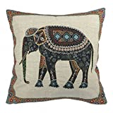 Come2buy - Cotton Linen Sofa Chair Seat Throw Pillow Case Cushion Cover Decorative Insert Not Included - Tapestry Jacquard Retro Indian Elephant