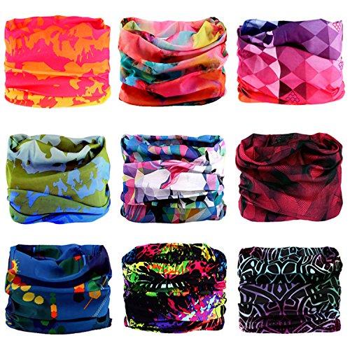 Headband, 12PCS & 9PCS Headwear 12-in-1 Multifunction Stretchable Magic Scarf Head Wrap Sport Sweatband, Workout,Yoga for Sport & Casual (Watercolours Series)