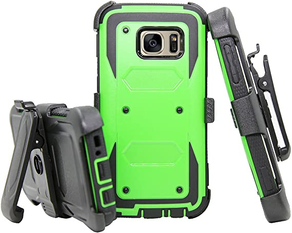 blue 2 Heavy Duty Armor Galaxy S7 Case with Kickstand Slim Thin Hybrid Shock Absorption Scratch Resistant TPU Skin Silicone Full-body Protective for Samsung Galaxy S7