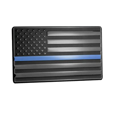 "USA American Embossed Stainless Steel Metal Flag for Cars, Trucks Show Support of Police and Law Enforcement Officers Black with Thin Blue Line 5""x3\"": Automotive [5Bkhe0801375]"