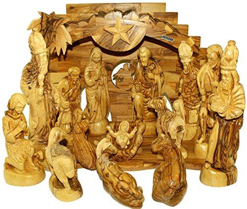 Large Olive Wood Nativity Set- Musical by Holy Land Market