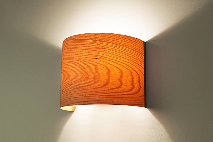 Amazon modern wall light fixture wall lamp beech arc wood modern wall light fixture wall lamp beech arc wood veneer lamp shade aloadofball Images