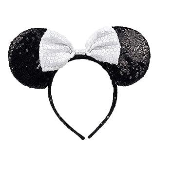 Minnie//Mickey Ears Headbands Black /& Pink Sequins Bow Boy and Girl Headwear *UK