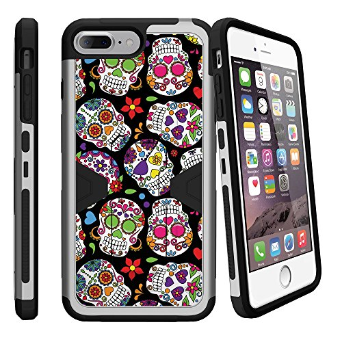 Hard Case Defender for Apple iPhone 7 2017 High-Impact Shell Case with Silicone Bumper, Silver Case for iPhone 7[Sturdy Case for Apple iPhone 7 / iPhone 8 Silver Cover] - Sugar Skulls (Shell Sugar Silver)