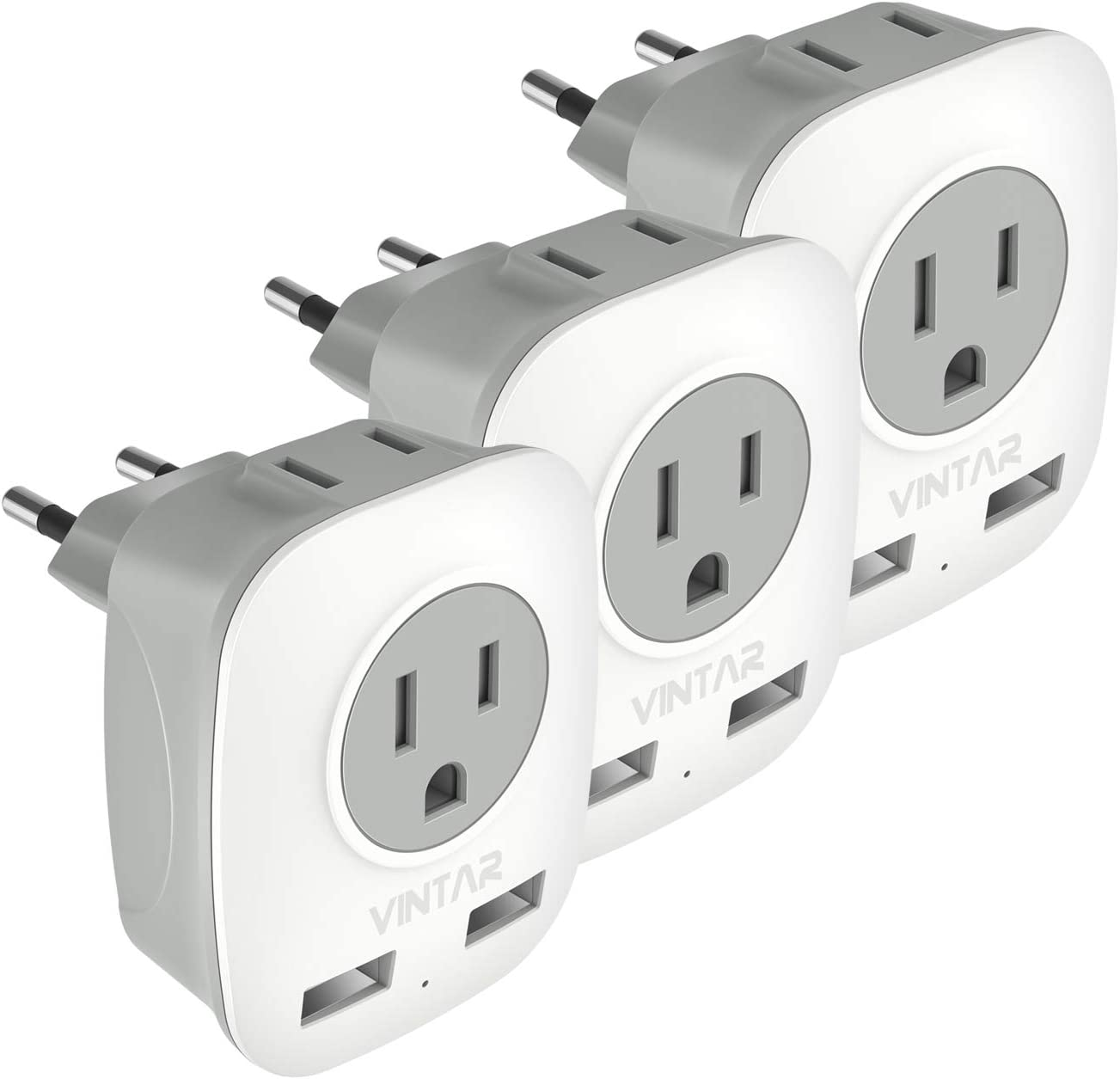 [3-Pack] European Plug Adapter, VINTAR International Power Adaptor with 2 USB Ports,2 American Outlets- 4 in 1 European Plug Adapter for France, German, Greece, Italy, Israel, Spain (Type C)