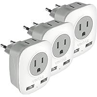 [3-Pack] European Travel Plug Adapter, VINTAR International Power Adaptor with 2 USB… photo