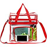 "Magicbags Clear Tote Bag Stadium Approved,Adjustable Shoulder Strap and Zippered Top,Stadium Security Travel & Gym Clear Bag, Perfect for Work, School, Sports Games and Concerts-12"" x12"" x6""(Red)"