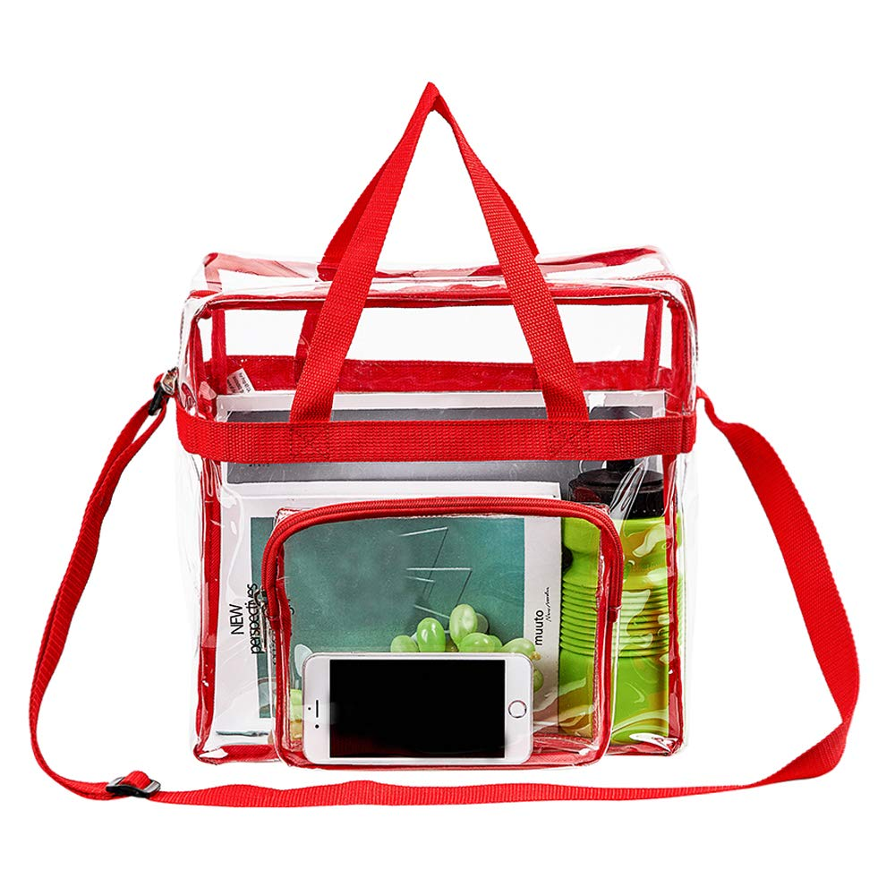 """Magicbags Clear Tote Bag Stadium Approved,Adjustable Shoulder Strap and Zippered Top,Stadium Security Travel & Gym Clear Bag, Perfect for Work, School, Sports Games and Concerts-12"""" x12"""" x6""""(Red)"""