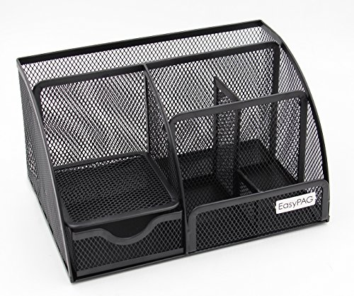 EasyPAG Mesh Desk Organizer Office Supplies Caddy 6 Compartments with Drawer, Black ()
