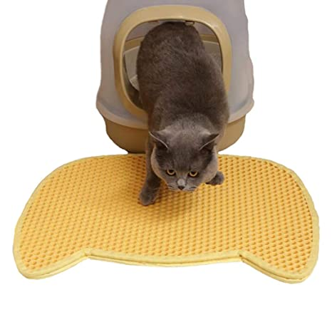Authda Alfombrilla de Arena para Gatos de Doble Capa Resistente al Agua no tóxica Mantiene el