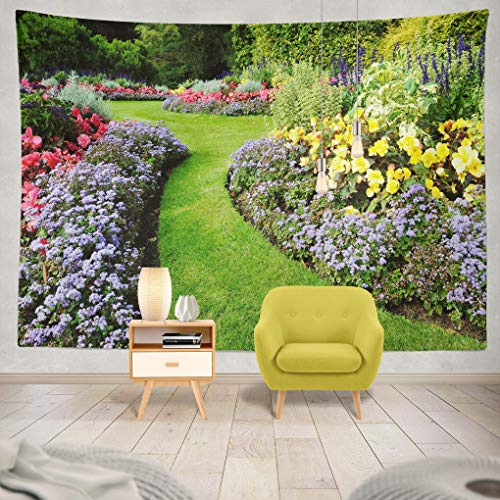 ONELZ Decor Collection, Scenic Colourful and Winding Grass Lawn English Garden Bedroom Living Room Dorm Wall Hanging Tapestry 60