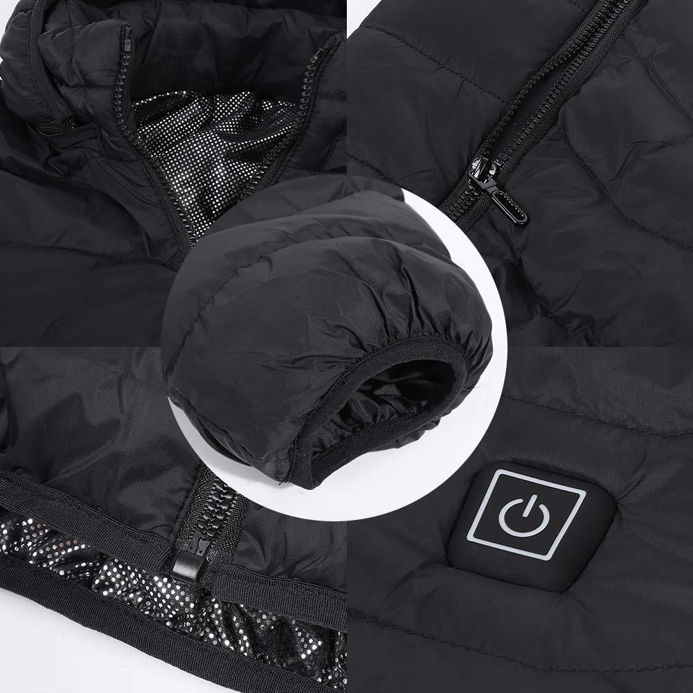 Tbest Manteau Chauffant Homme avec Capot l/éger USB /électrique chauff/ée Chaud Durable Hiver Hommes Noir /épais Pardessus