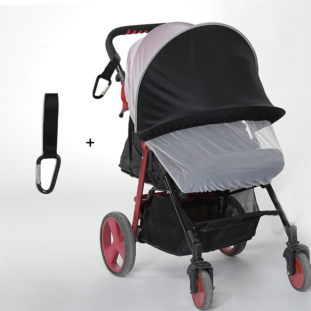 baby stroller sunshade With Mosquitoes Net, Picowe Baby Stroller Sun Shade & Mosquito Net Baby Stroller Shade Cover Sun Shade Cover Sleep Aid with UV Protection Sun for Pushchairs and Strollers(Black)