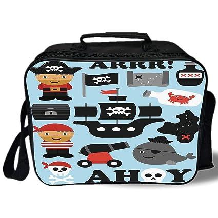 e85405a7c922 Amazon.com: Kids 3D Print Insulated Lunch Bag, Ahoy Pirate Theme ...