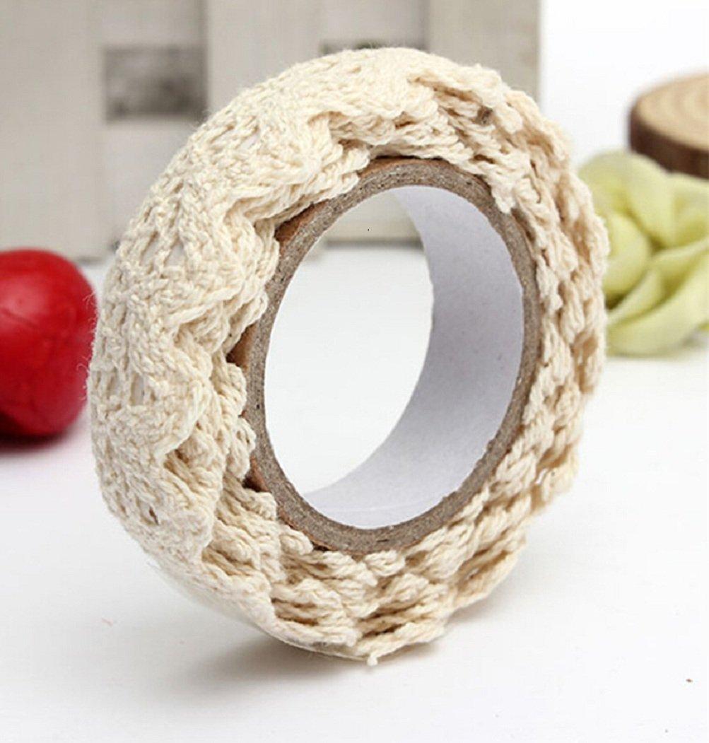 Colorido Hollow Lace DIY Adhesive Scrapbook Masking Decorative Tape Sticky Craft size Medium (Cream)