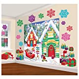 Amscan Winter Wonderland Christmas Party North Pole Mega Value Scene Setters Wall Decorating Kit, Vinyl, Pack of 32 Party Supplies