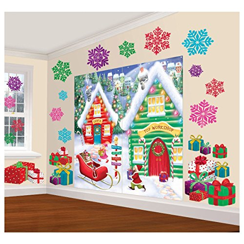 amscan winter wonderland christmas party north pole mega value scene setters wall decorating kit pack of 32 multicolor one size
