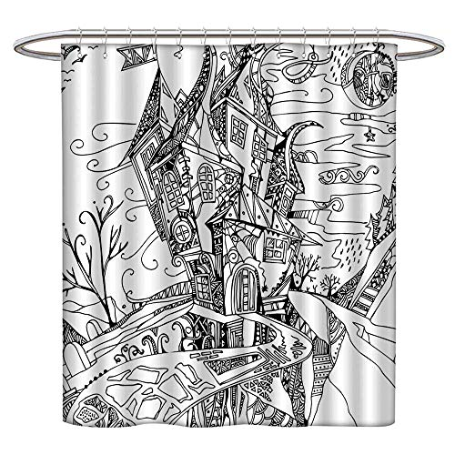 Jiahonghome Large Home Decoration Image House Like Castle Halloween Themed Image Black and White for Bathroom Water-Repellent Hotel Quality W 63 x L 72 INCH ()