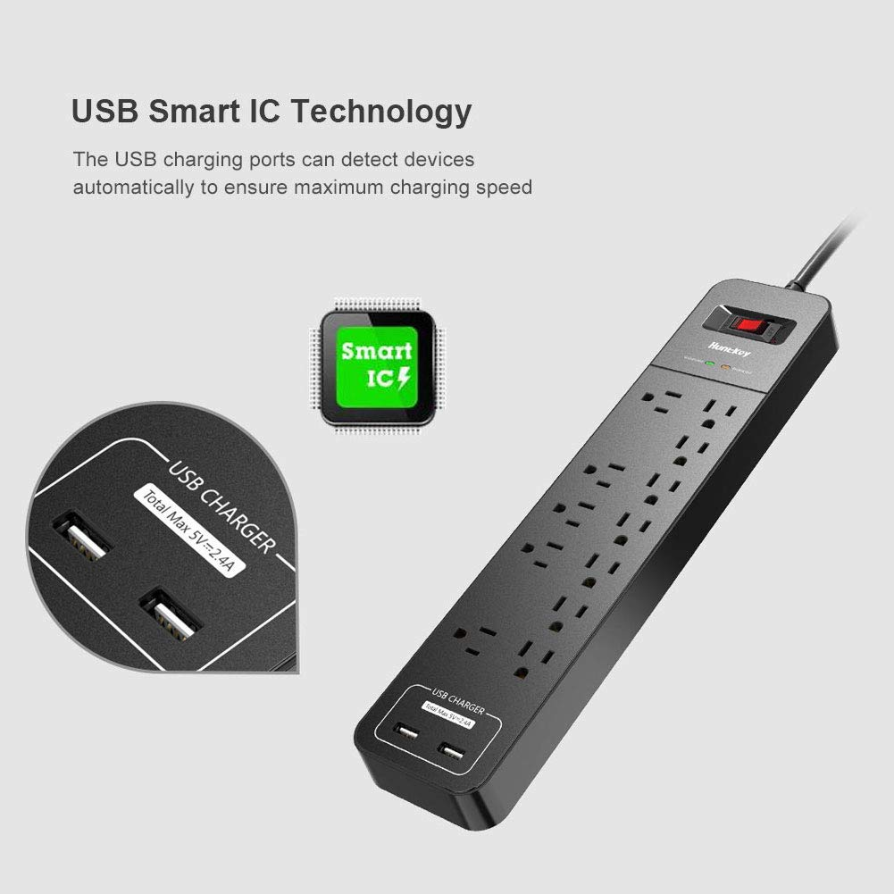 5V 2.4A with Smart IC Technology SMC127 6-Foot Heavy Duty Extension Cord Huntkey 12 Outlets Surge Protector Power Strip with 2 USB Ports
