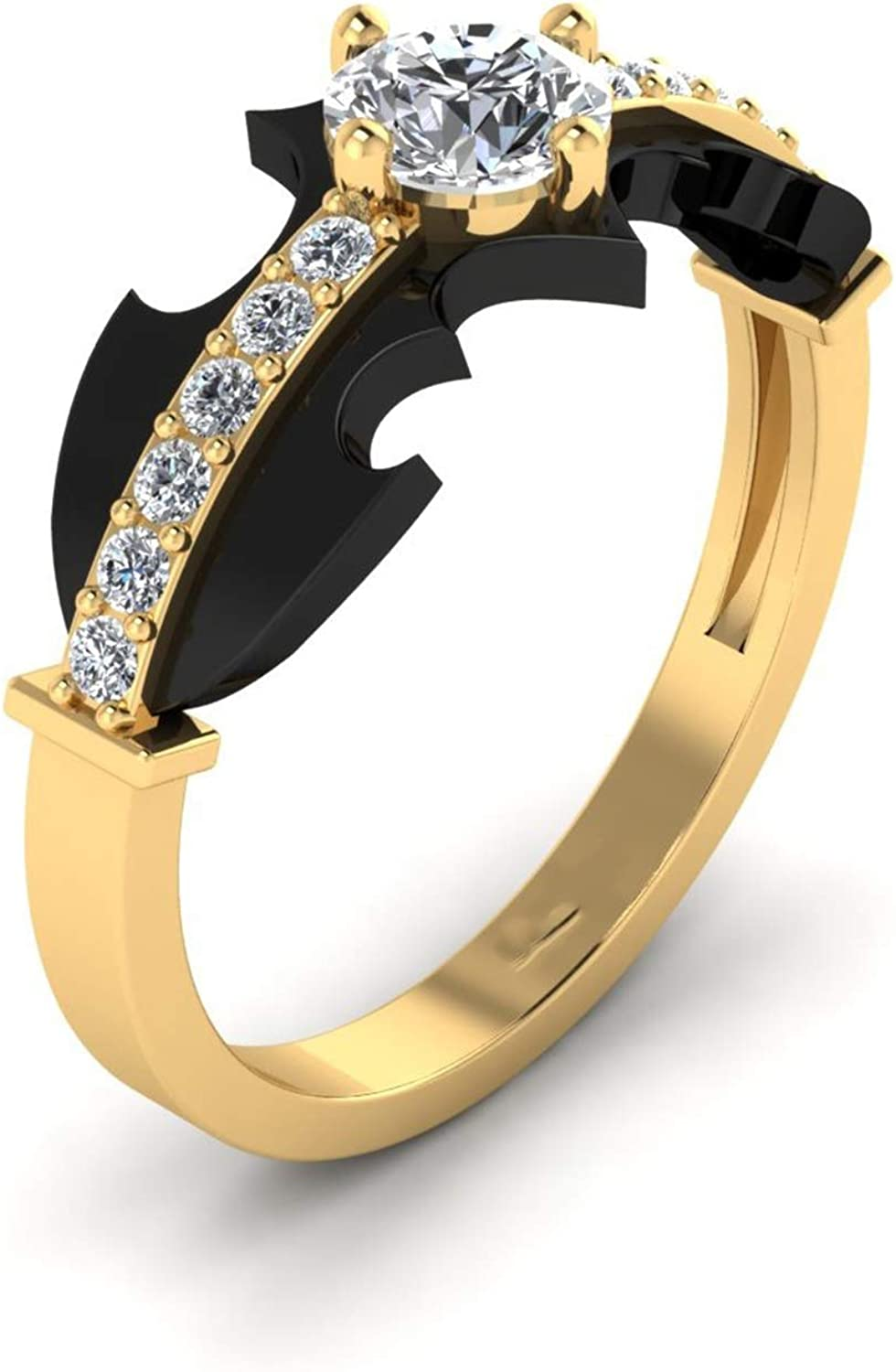 Suhana Jewellery Womens Fashion Cat Dog Paw Ring Yellow Gold Plated 14K Alloy /& Simulated Diamond Studded