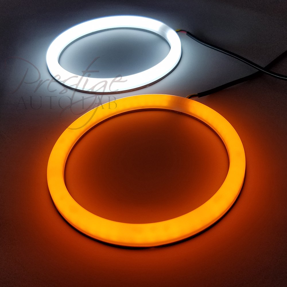Prestigeautolab 4x 106mm Cotton Hd Led Angel Eye Halo Eyes Neon Ring Ccfl Shadow Double Dual Color Turn Signal Switchback Light Smd Lamp Drl White Amber Xenon Platinum