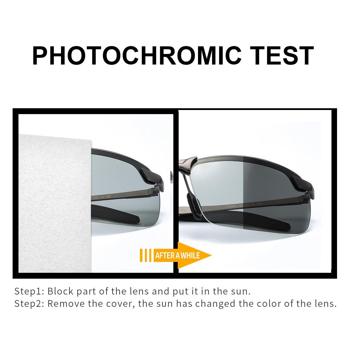 TJUTR Homme Lunette De Soleil Photochromiques Polarisées Conduite Pêche  Golf Eyewear UV400 Protection (Gris Gris)  Amazon.fr  Vêtements et  accessoires cdcc98084408