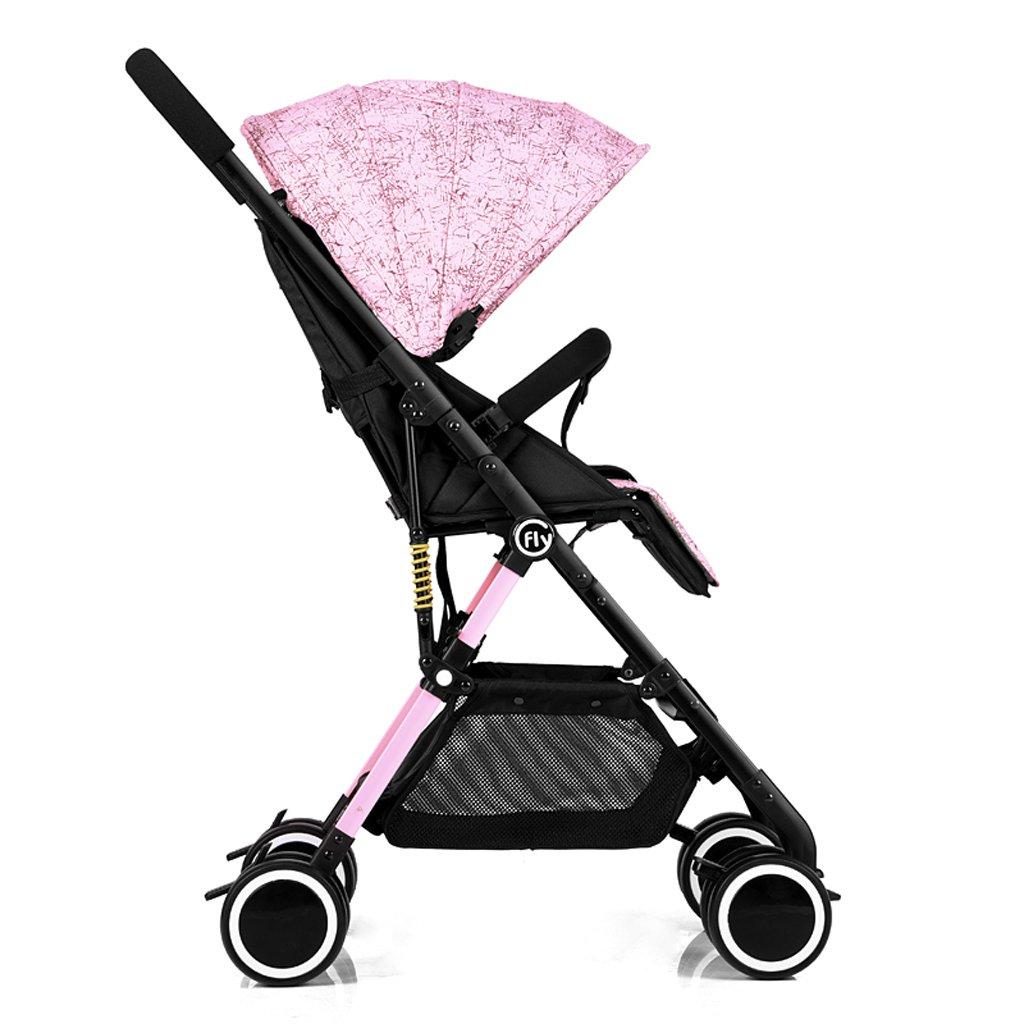 赤ちゃんベビーカー高風景超軽量ポータブルリクライニングベビー折りたたみカート、グリーン/ピンク/ブルー/ヒョウプリント、68 * 48 * 105センチメートル ( Color : Pink ) B07BW5MB2G