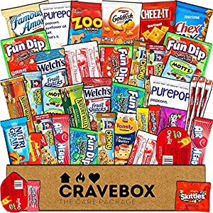 CraveBox - Care Package (40 Count) Snack Box - Variety Assortment Bundle of Snacks, Candy, Chips, Chocolate, Cookies, Granola Bars, for Students, Office, Midterms, Final Exams, Valentine's Day