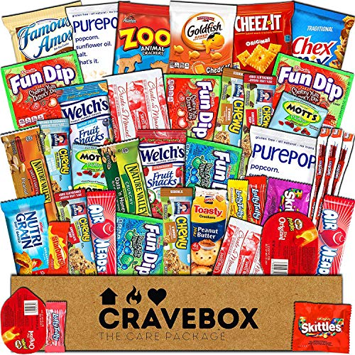 - CraveBox - Care Package (40 Count) Snack Box - Variety Assortment Bundle of Snacks, Candy, Chips, Chocolate, Cookies, Granola Bars, for Students, Office, Midterms, Spring Final Exams, Easter Sunday