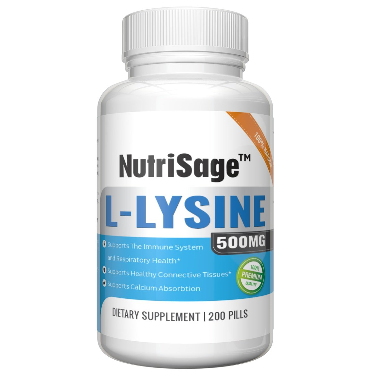 Premium Super L Lysine - 500mg Amino Acid Tablets For Cold Sore Care, Shingles, Immune Support & More - 200 Count Per Bottle by NutriSage (Image #2)