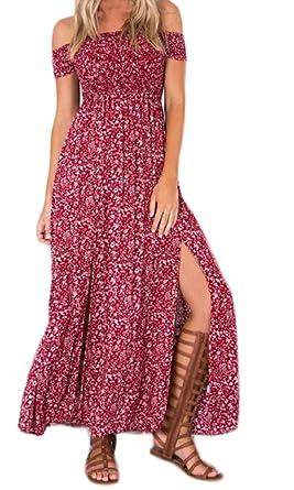 Maxi Vestido Mujer Moda Chic Floreadas Vestido Boho Manga Corta Sin Basic Tirantes Cintura Alta Abiertas