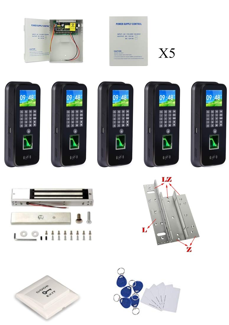 As Discussed 5 Doors Fingerprint RFID Access Control System 600Lbs Magnetic Lock TCP/IP Time Attandance by MENGQI-CONTROL (Image #1)
