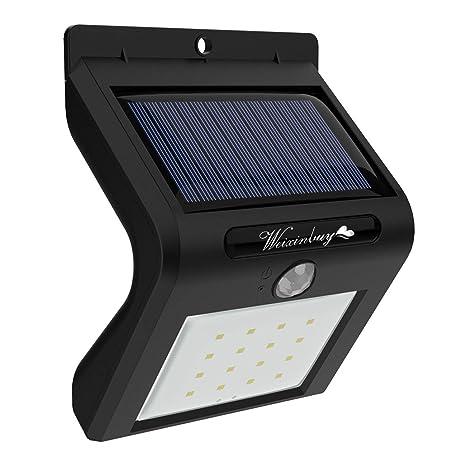 Weixinbuy - Luces solares de seguridad LED para exteriores con sensor de movimiento para exteriores,
