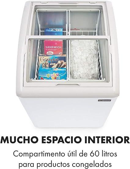 Klarstein Pro Eispalast, 100 litros, congelador con tapa corrediza de vidrio, catering, comercial, snack, pequeño, 60 x 91 x 67 cm, congelador, puerta corrediza de vidrio, 2 cestas colgantes, blanco: Amazon.es: Hogar