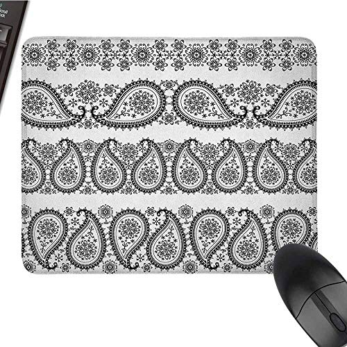 Paisley Waterproof Mouse pad Winter Themed Design and Lace Like Ornaments with Flowers and Snowflakes Art Suitable for Any Type of Mouse W10 x L12 x H1.2 Inch Black and White