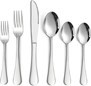 72-Piece Silverware Set with 12 Extra Spoons, HaWare Stainless Steel Flatware Cutlery Set Service for 12, Eating Utensil Set for Home Party Wedding, Mirror Finish, Dishwasher Safe