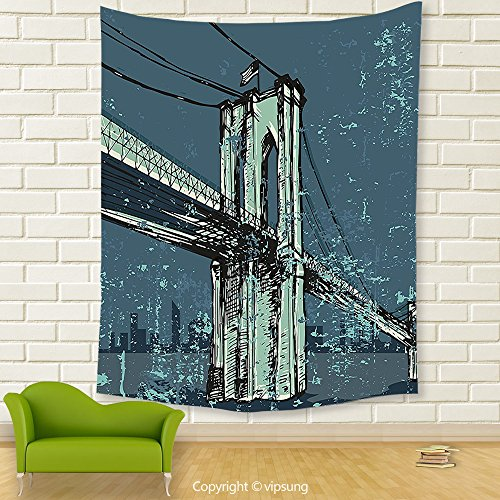 Vipsung House Decor Tapestry_Urban Hand Drawn Brooklyn Bridge Sketch Grunge New York City American Usa Artwork Petrol Green Mint_Wall Hanging For Bedroom Living Room Dorm (Halloween Dog Parade Brooklyn)