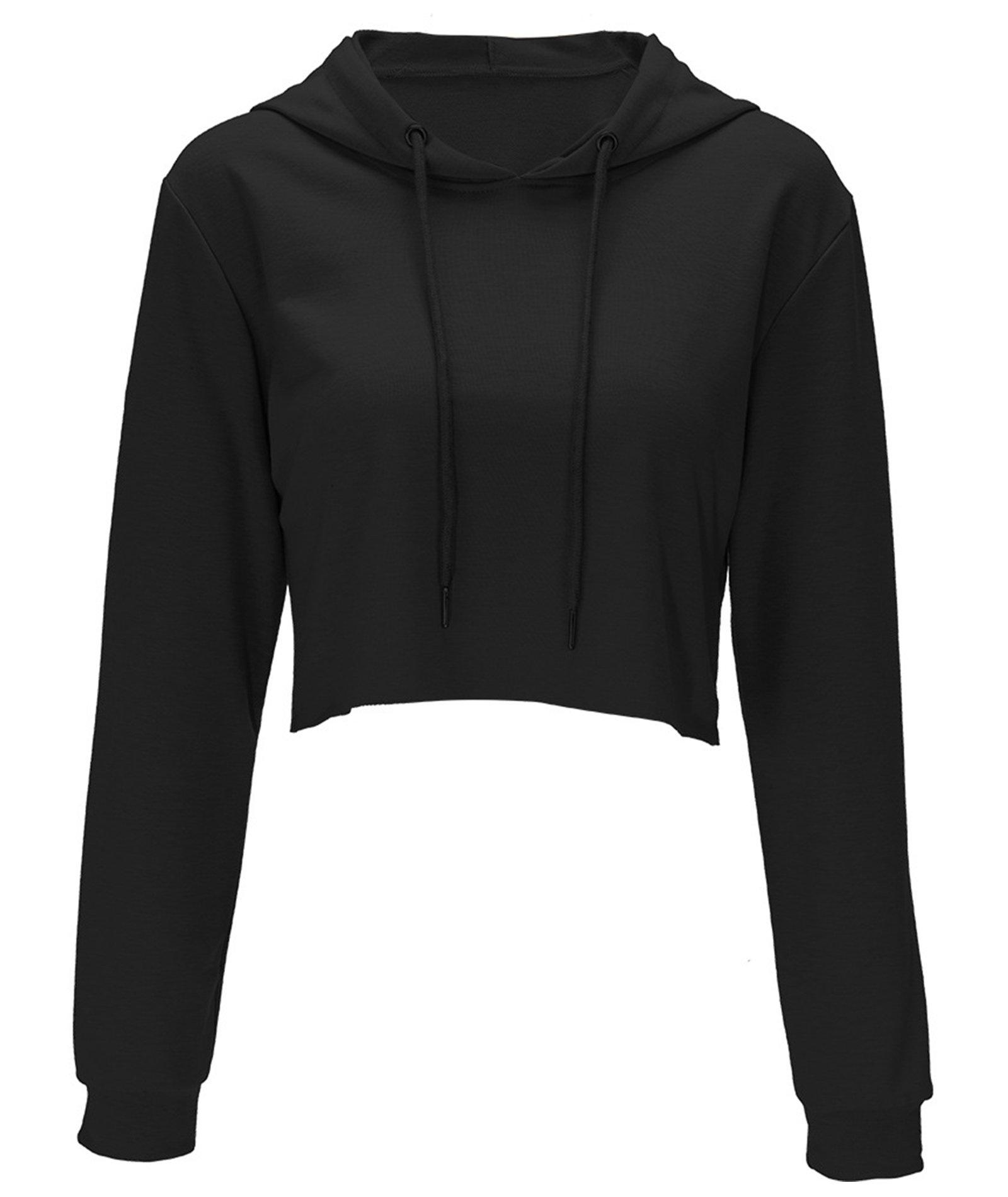 Women Pullover Hoodie Long Sleeve Casual Sweatshirt Black Large