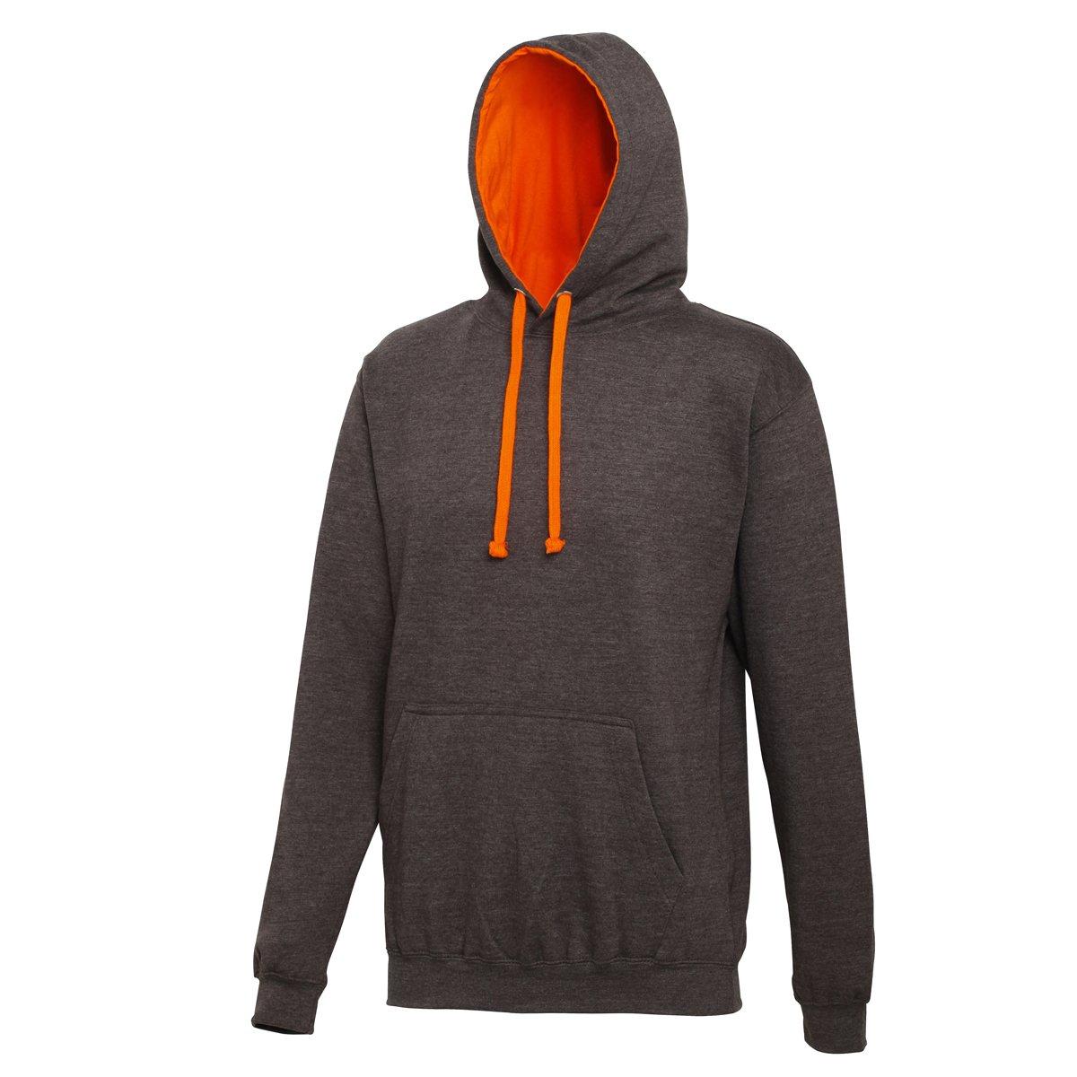 AWDis Hoods Varsity Hoodie Charcoal-Orange Crush Streetwear Hoodies