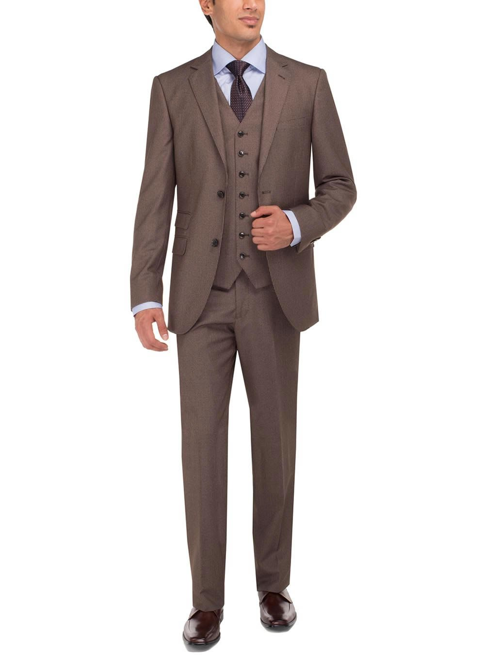 Luciano Natazzi Men's Two Button Tweed 3 Piece Modern Fit Vested Suit (36 Short US / 46 Short EU, Lt. Brown)
