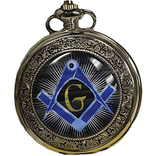 Freemason Stainless Steel Pocket Watch With Colorful Square & Compass Symbol Stainless Steel Masonic Watch