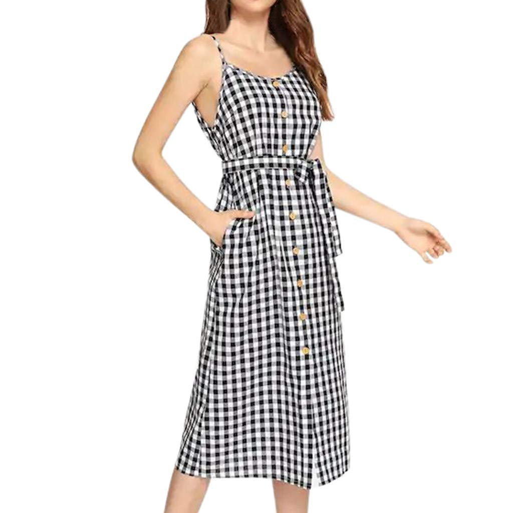 TWGONE Tank Dress With Pockets Women Plaid Buttons Cold Shoulder Bow Bandage Straps Sling Casual Dress(X-Large,Black)