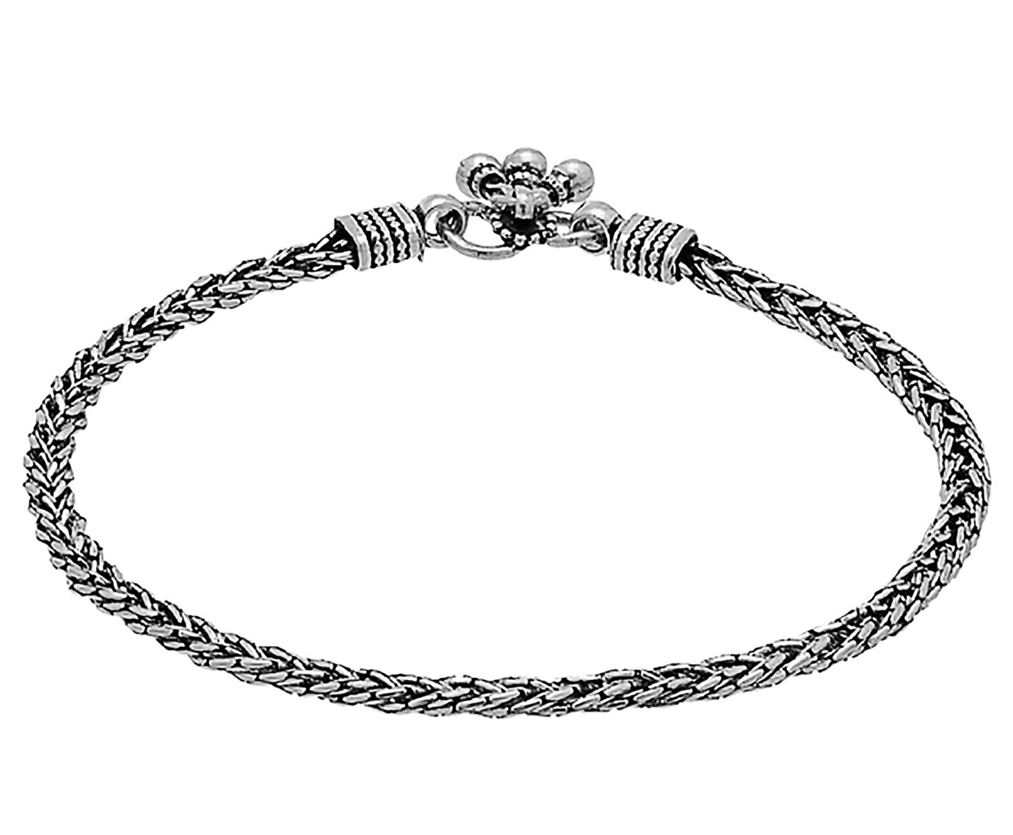 D&D Crafts MODERN STERLING SILVER ANKLET WITH OXIDIZED SILVER PLATING For Women, Girls by D&D (Image #2)