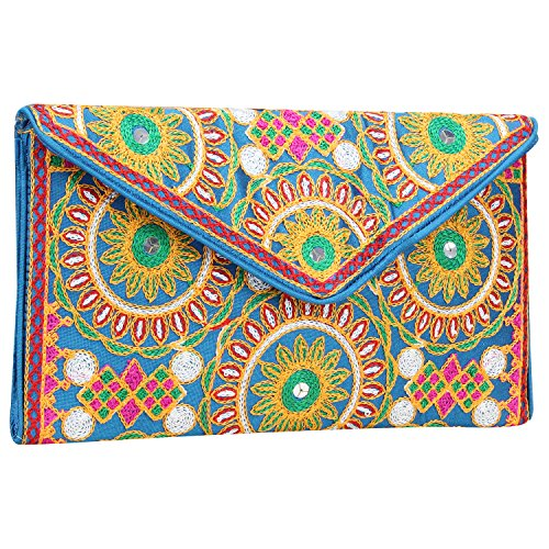 Ethnic Embroidered Hadmade Banjara foldover Clutch Purse-Sling Bag-Cross Body Bag (Dark Sky Blue) by Suman Enterprises