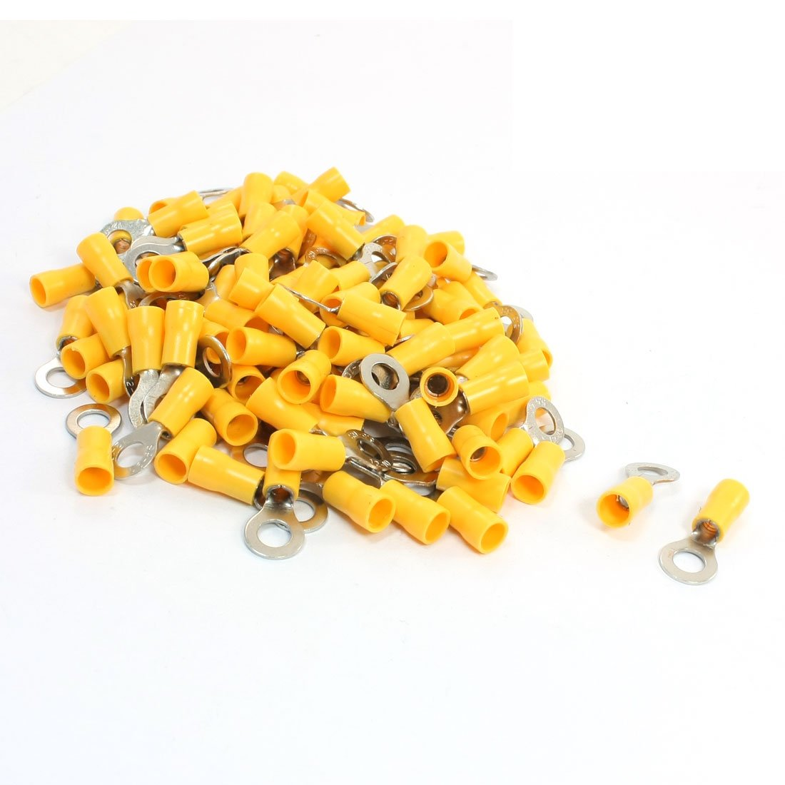100 piezas rv5, 5-6 anillo Terminal aislado la lengua amarillo para AWG 12-10 Sourcingmap a14010400ux0156