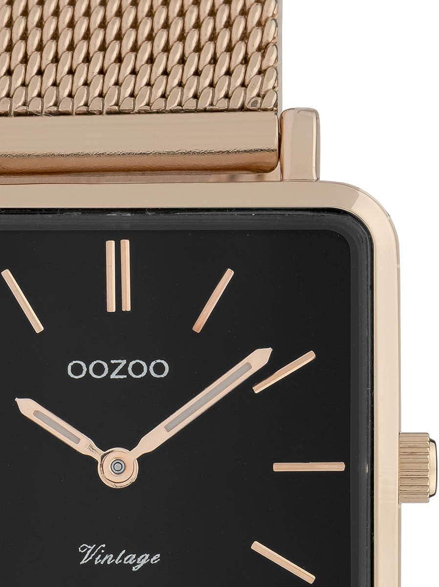 Oozoo Montre pour femme plate carrée vintage avec bracelet en métal milanais en acier inoxydable 28 mm Rose/Noir.