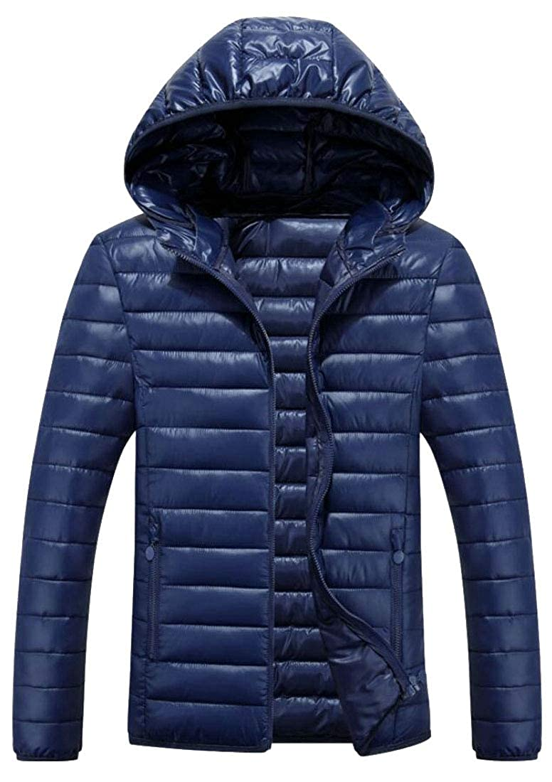 Esast Mens Winter Warm Hooded Quilted Down Jacket Coat