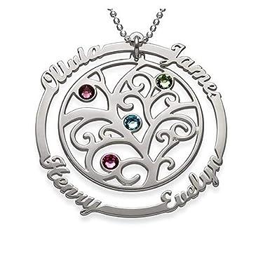 9390d3c825fe ASD Jewerly Collar Mujer Plata Collar Collar del árbol de la Vida Familiar Nombre  Personalizado Colgantes